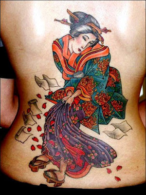 Beautiful Geisha Tattoo on the back