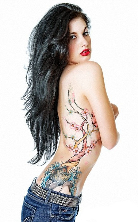 pictures of tattoos for women on side. side tattoos for women. side