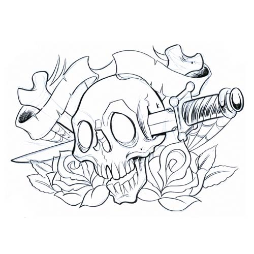 skull tattoo with flowers. popular tattoo designs