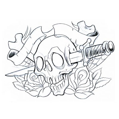 Dagger Skull Tattoo Design