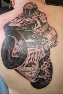 Motorcycle racing Biker Tattoo Design
