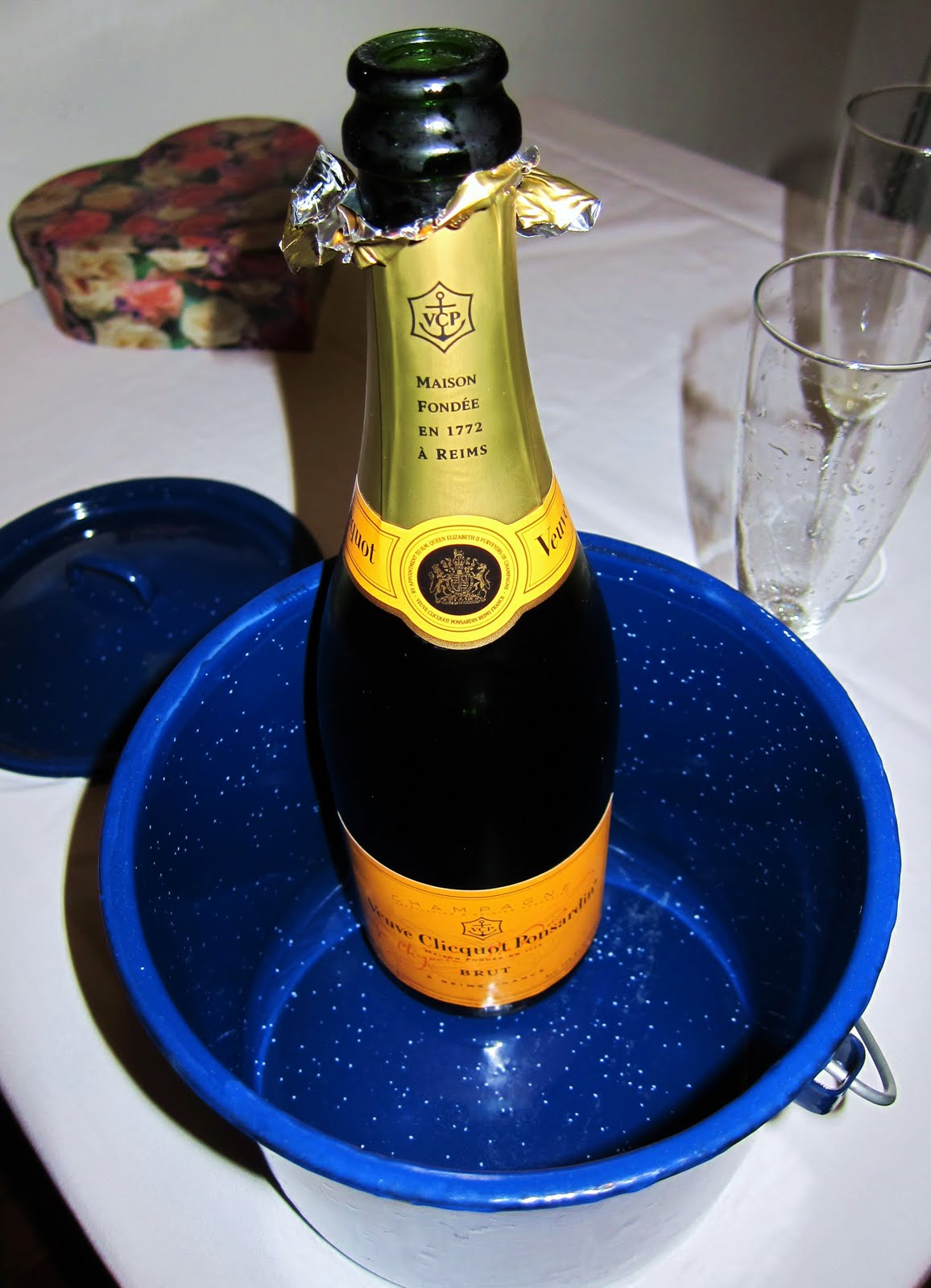 To go along with the chocolates, we enjoyed a bottle of Veuve Clicquot ...