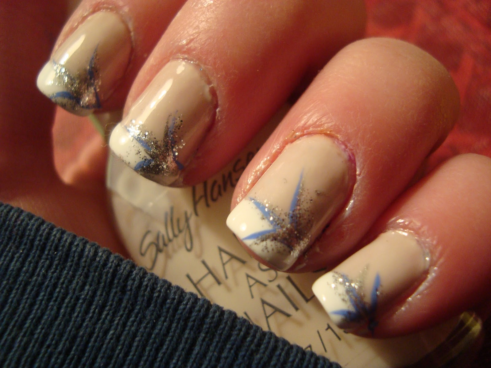paint that nail: French Tip Manicure with feather like design
