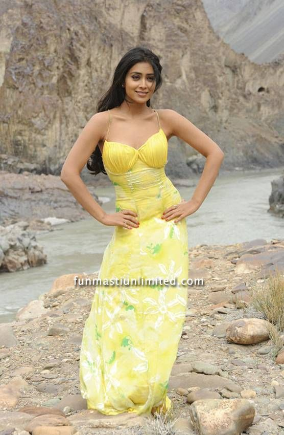 Shriya Saran Hot photos in yellow sleeveless dress