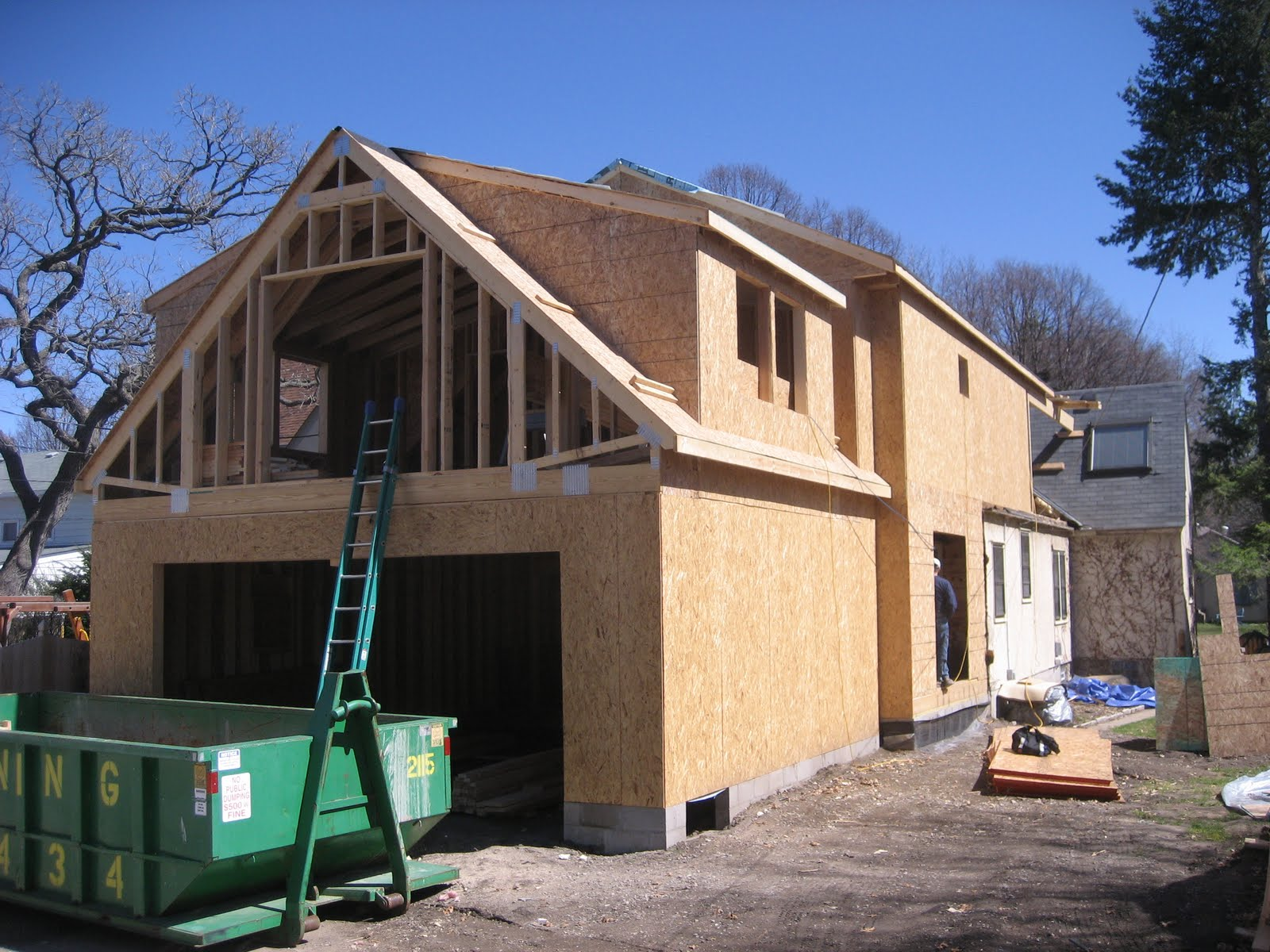 Swanson residence framing roof tie in for Bonus room truss design
