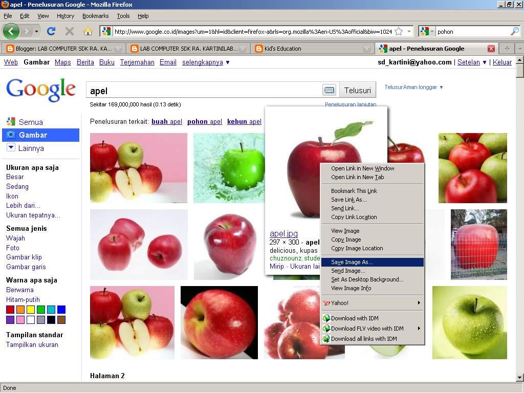 Kita bisa mencari gambar melalui Internet melalui mesin pencari google
