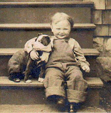 A Boy and his dog. circa 1900