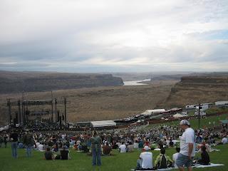 vue de l'amphithéatre the gorge à Seattle lors du concert de Dave Matthews