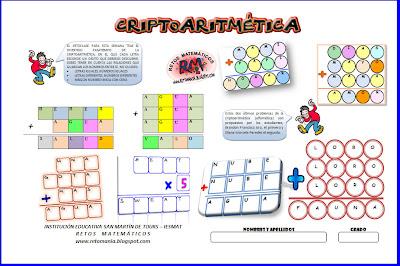 Criptoaritmética, Alfamética, Alfamético, Criptoproducto, Criptomultiplicación, Criptosumas