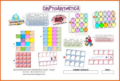 Criptoaritmética, Alfamética, Alfamético, Criptoproducto, Criptomultiplicación, Criptosuma