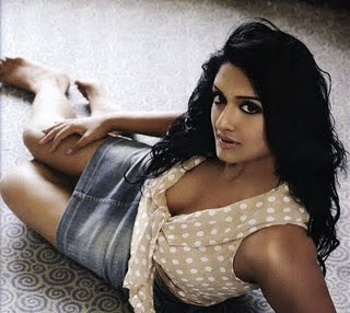 Actress Vimala Raman in Denim Skirt and Sexy Top