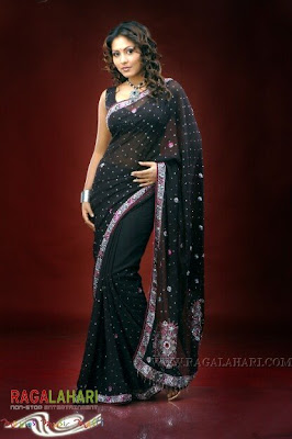 South Indian Actress in Black Saree Photos Madhu Shalini