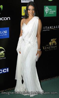 Raima Sen in White Designer Saree & Bikini Blouse