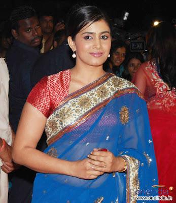 Sonali Kulkarni in blue colour designer saree