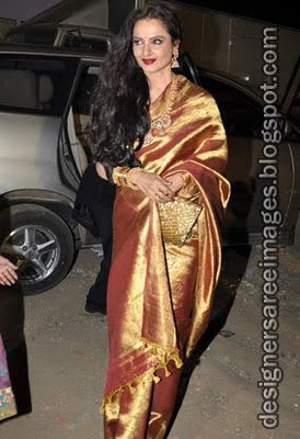 Rekha in golden silk saree