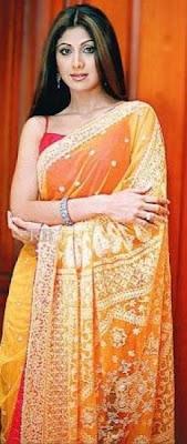 Shilpa Shetty in yellow colour designer saree