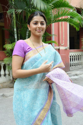 Bhoomika Chawala in Blue Saree  http://designersareeimages.blogspot.com/