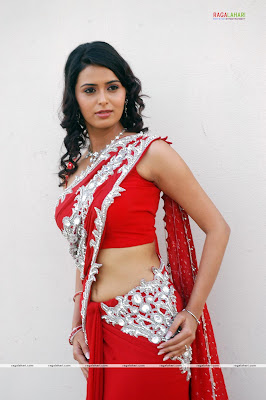 Meenakshi Dikshit in red colour designer saree