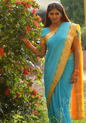 Bhuvaneswari in blue crepe saree