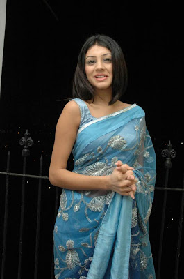 Anchal in Blue Saree  http://designersareeimages.blogspot.com/