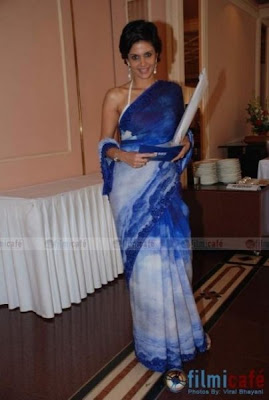 Mandira Bedi in blue designer saree at a RBS Press Conference