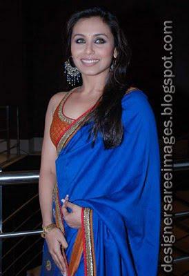 Rani Mukherjee in blue saree at the V Shantaram Award Function