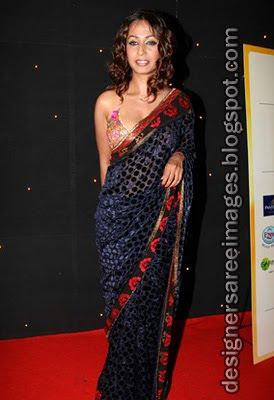 Kashmira Shah in Designer saree and bikini blouse