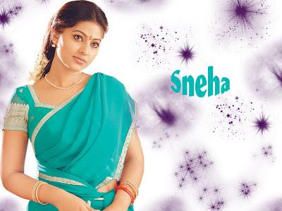 South Indian Actress Sneha in Blue Saree