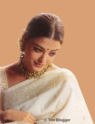 Aishwarya Rai in Cream Silk Saree