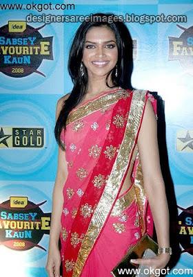 Deepika Padukone in Pink Colour Designer Saree