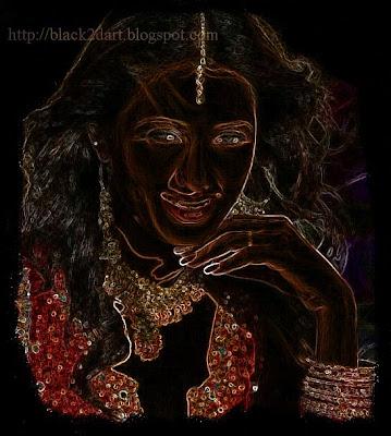 indian bride digital sketch photo
