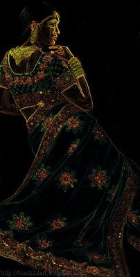 designer saree - photoshop glowing edge