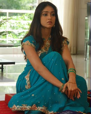 Illeana in Blue Saree  http://chudidaar.blogspot.com/