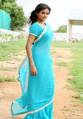 Priyamani in Blue Saree  http://designersareeimages.blogspot.com/