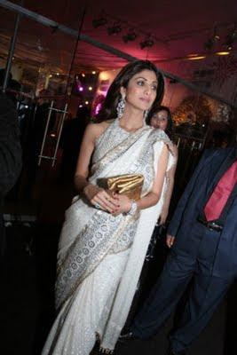 Shilpa Shetty in white designer saree