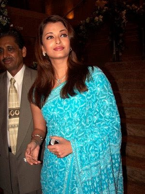 Bollywood actress Aishwarya Rai in Blue Designer Saree and blouse.