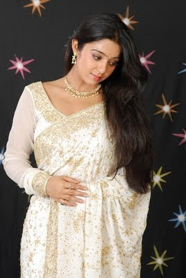 Charmi in white designer saree blouse