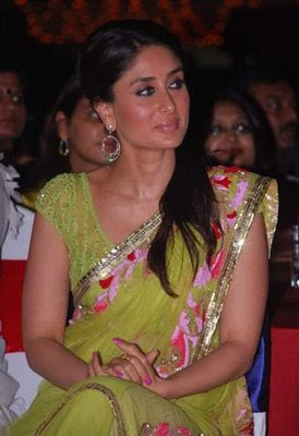 Kareena Kapoor in green designer saree