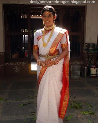 South Indian Actress Prathishta in White Colour Bridal Silk Saree