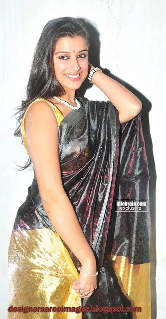 Madhurima in Black Silky Saree with Sleeveless Sari Blouse photo