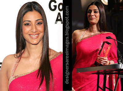 Actress Tabu in Pink Saree with Designer Sari Blouse image