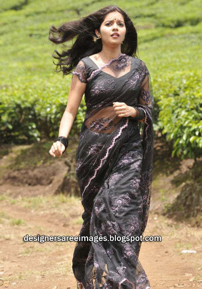 Actress Swathi in Black Transparent Saree