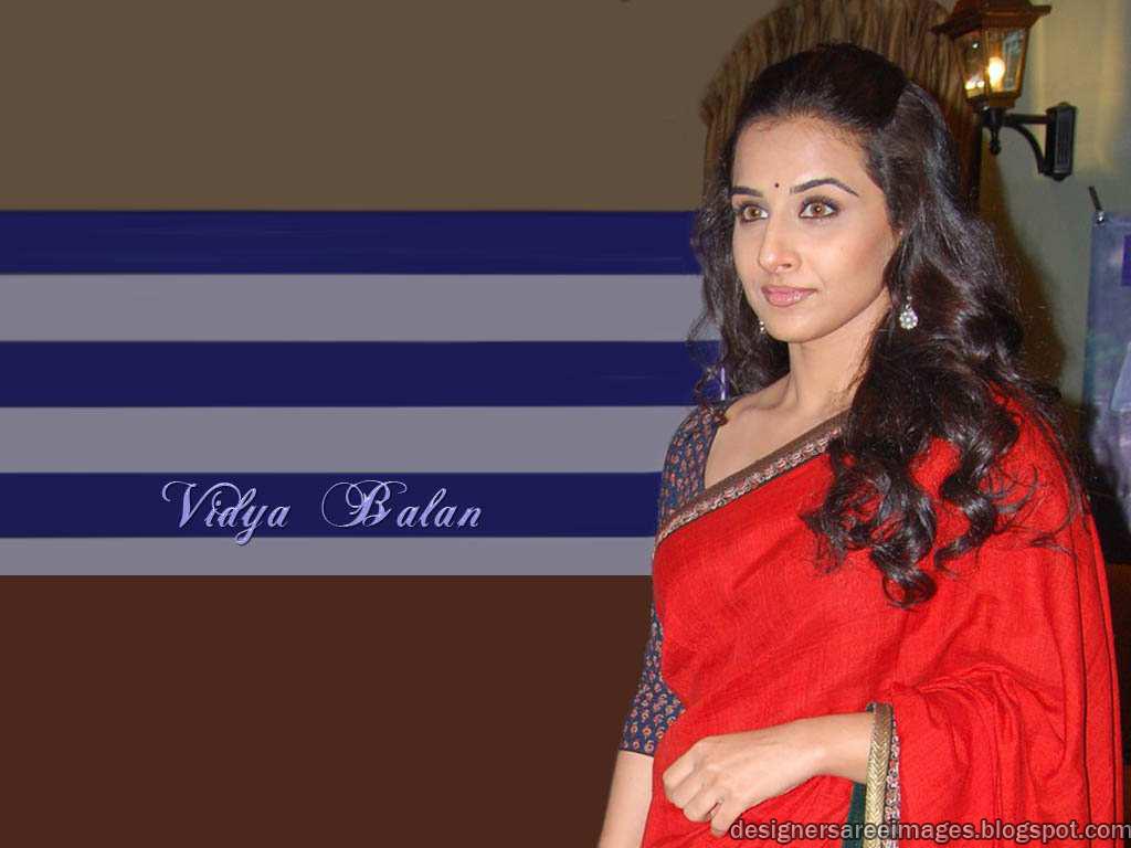 Vidya Balan in Red Designer Saree Wallpaper