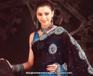 Aamna Sharif in Black Transparent Designer saree with heavy embroidery work