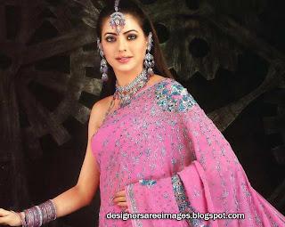 Actress Aamna Sharif in pink designer saree paired with sleeveless designer sari blouse