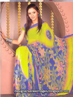 Actress Aamna Sharif in Yellow Color Floral Print Saree