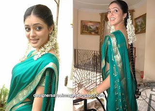 Actress Parvathi Melton in Peacock Blue Silk Saree