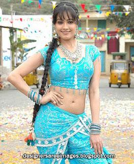 Actress Anitha in Palluless Blue Saree