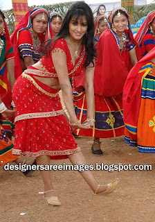 Actress Anitha in Palluless Red Saree