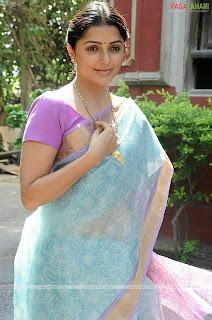 Bhoomika Chawala in Blue Cotton saree with zari border